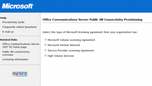 Microsoft OCS 2007 R2 PIC Provisioning License
