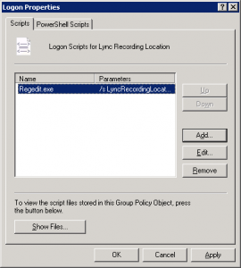 Logon Script Dialogue Box 270x300 Lync Server 2010   Client Recording Location