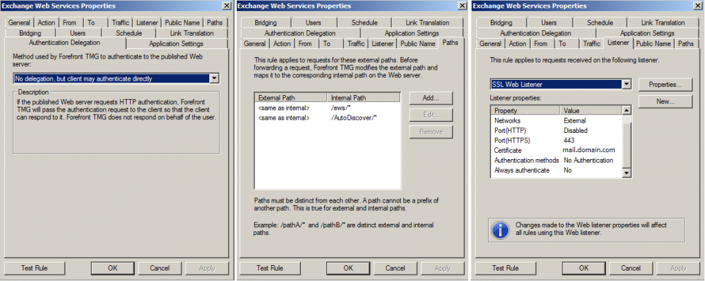 Web Publishing Rule Properties 1024x408 Lync 2013 EWS With Forefront TMG 2010 Issues
