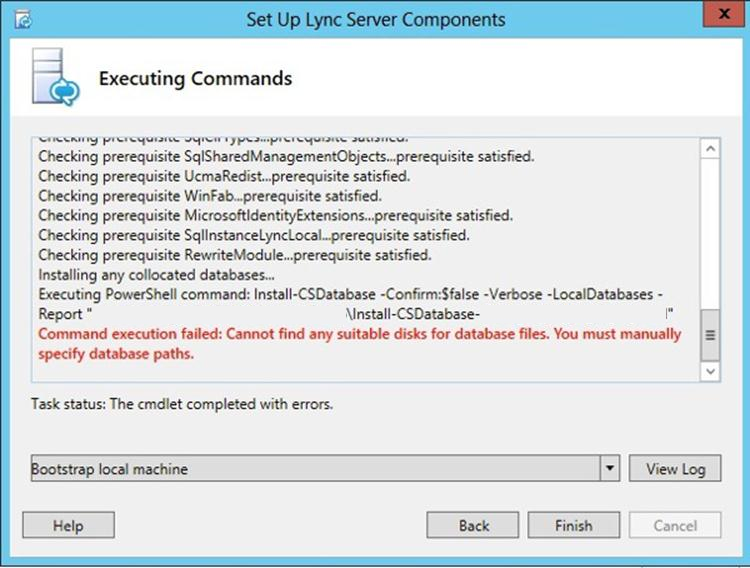 Database Error Lync Server 2013   Cannot Find Any Suitable Disks For Database Files